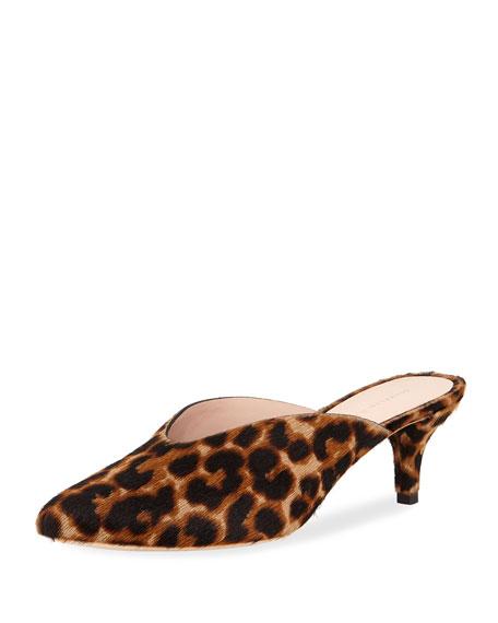Juno Leopard Kitten-Heel Mule Slide in Leopard Print