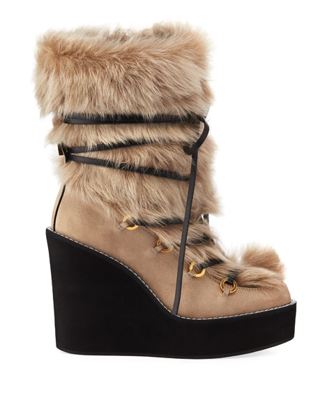 Image 3 of 4: Nikita Mid-Calf Fur Wedge Boots