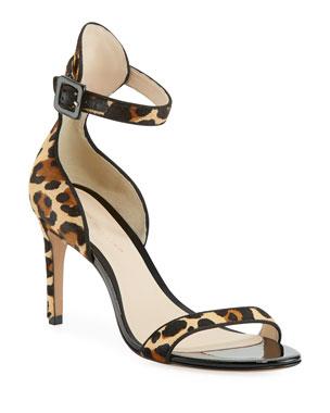 63e21dfed90b61 Sophia Webster Nicole Leopard-Print Hairhide Mid-Heel Sandals