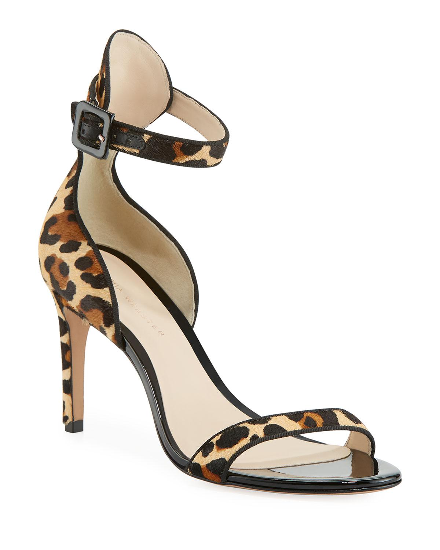 b0c561a926f Sophia Webster Nicole Leopard-Print Hairhide Mid-Heel Sandals ...