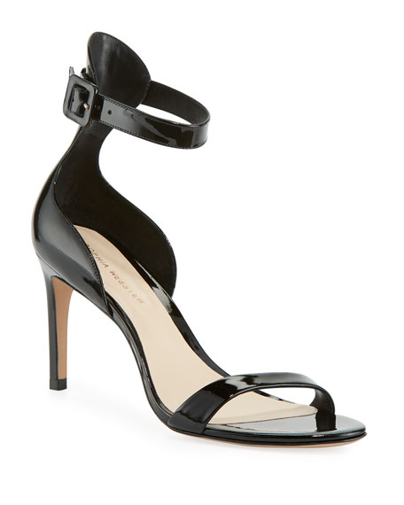 Nicole Patent Mid-Heel Sandals