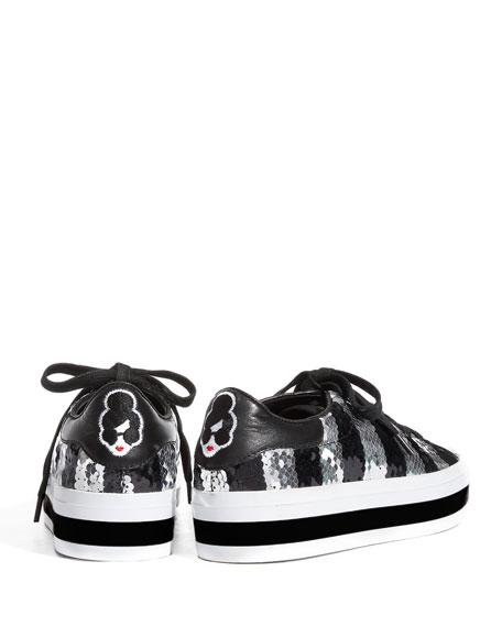 Alice + Olivia Ezra Sequin StaceFace Platform Sneakers