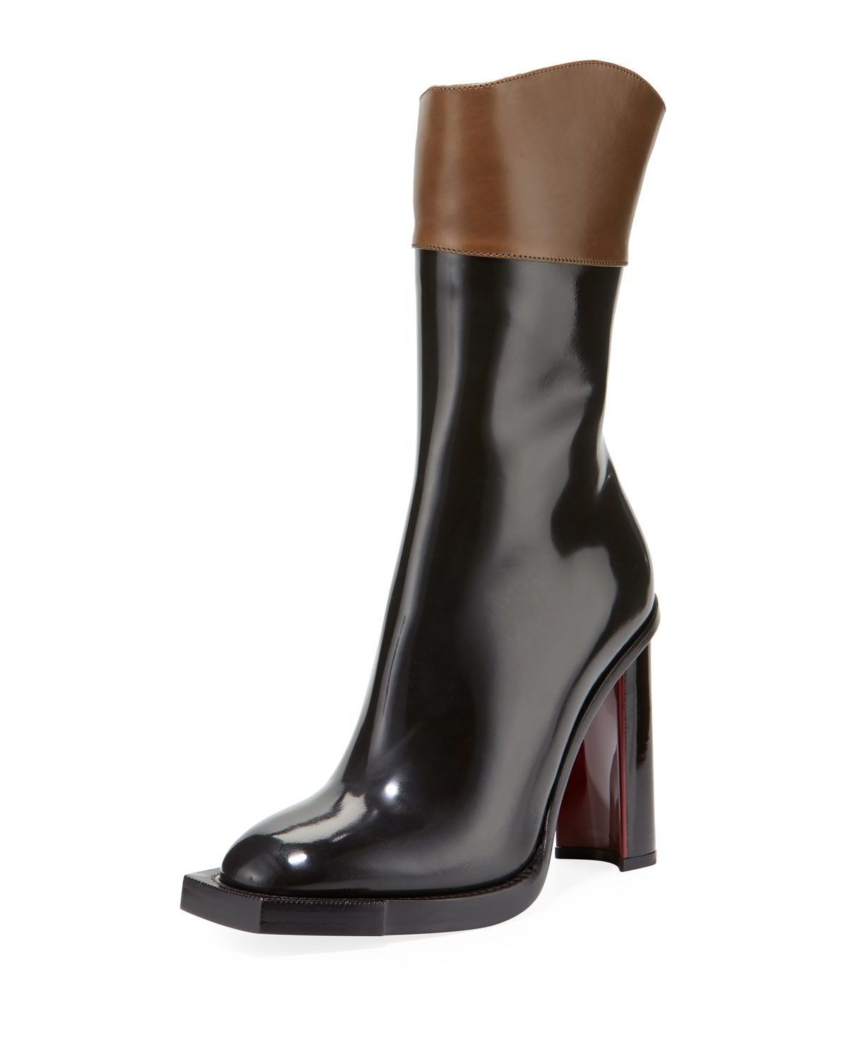 a43b7fd7ee53 Alexander McQueen Two-Tone Leather Ankle Boots