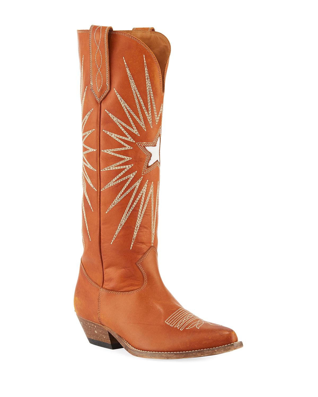 Golden Goose Wish Star Knee-High Cowboy Boot  7e7bb4d7395