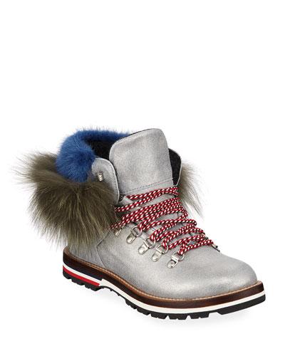 Solange Metallic Fur-Trim Boots