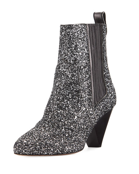 Veronica Beard Bennett Crushed Glitter Booties