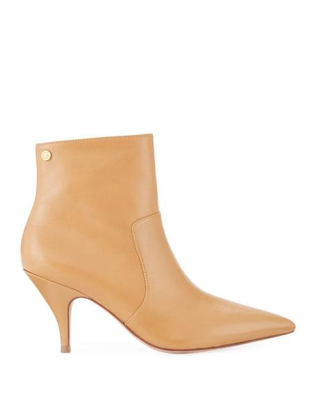 Georgina Mid-Heel Leather Booties