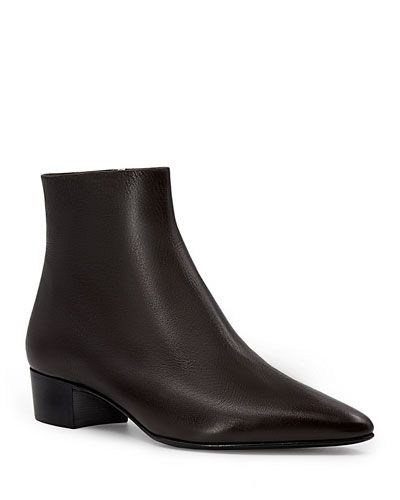 Ambra Point-Toe Leather Ankle Boots