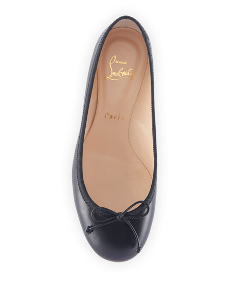 Christian Louboutin La Massine Leather Spike-Heel Red Sole Ballet Flats