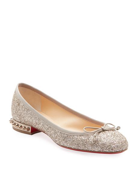 Christian Louboutin La Massine Glitter Spike Red Sole Ballet Flats