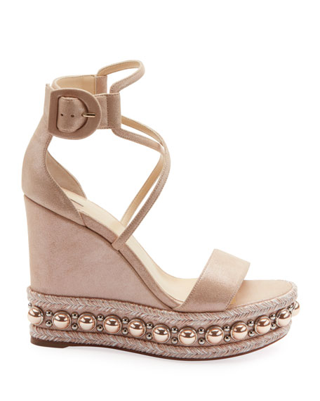 Christian Louboutin Chocazeppa Metallic Suede Wedge Red Sole Espadrille Sandals