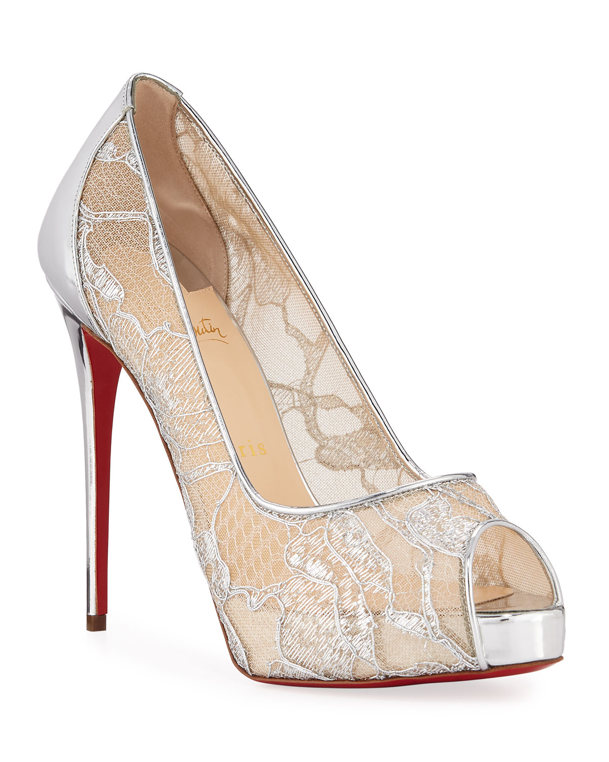 d0c59893d72e Christian Louboutin Very Lace 120mm Metallic Peep-Toe Red Sole Pumps ...