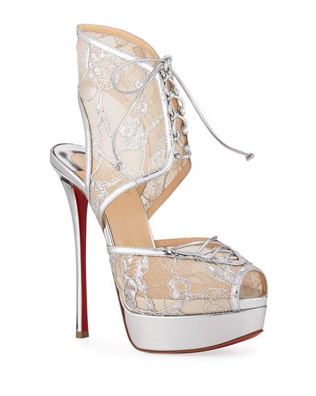 Jose Altafine Metallic Lace Red Sole Sandals