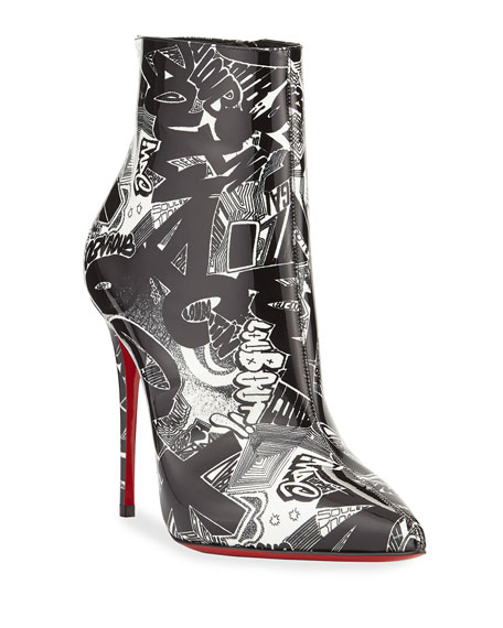 Christian Louboutin So Kate 100 Patent Nicograf Red Sole Booties