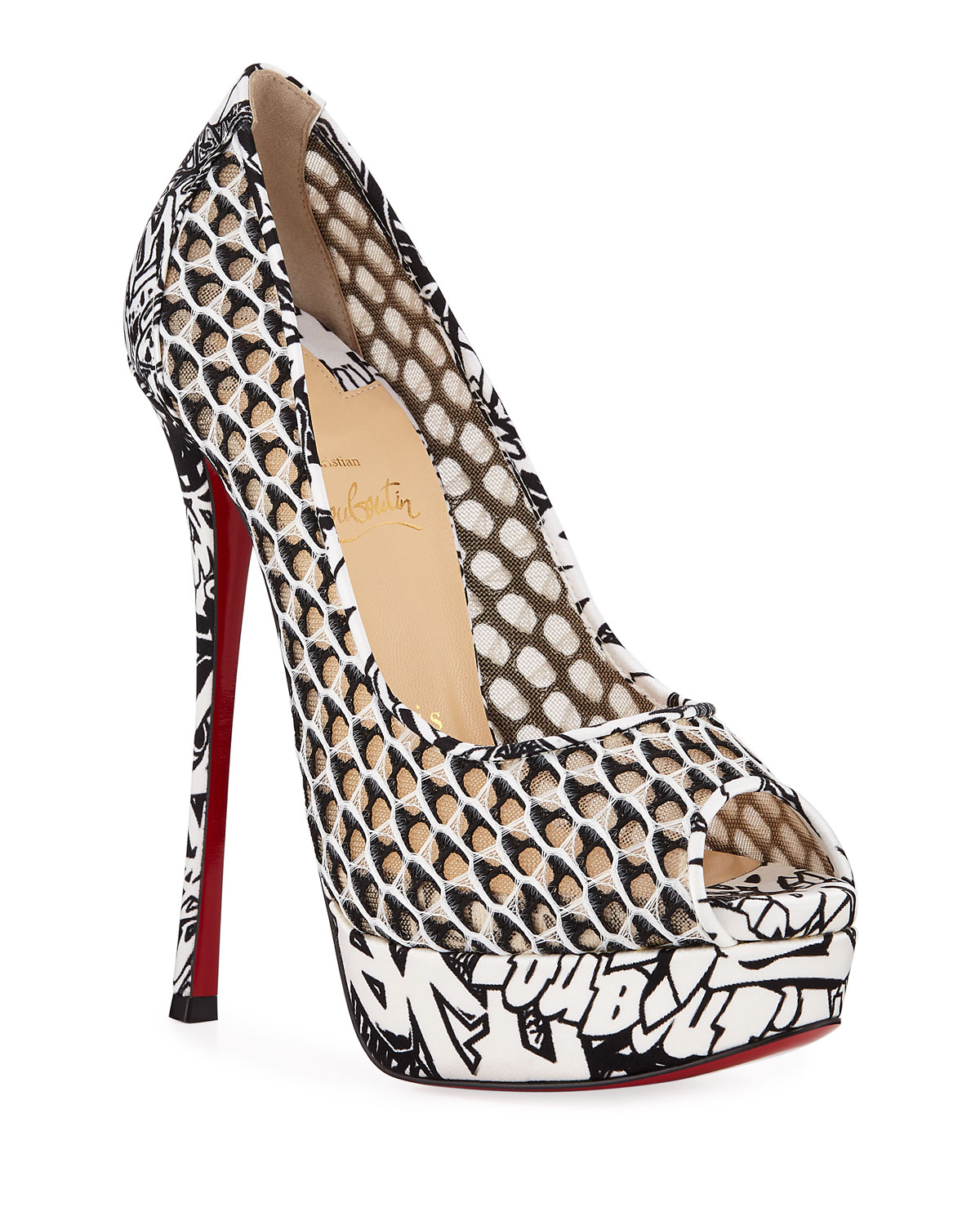 673581b35f1 Christian LouboutinFetish Fishnet Lace Extra High-Heel Red Sole Pumps