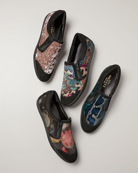 Sesto Meucci Frida Novel Snake-Print Velvet Sneakers