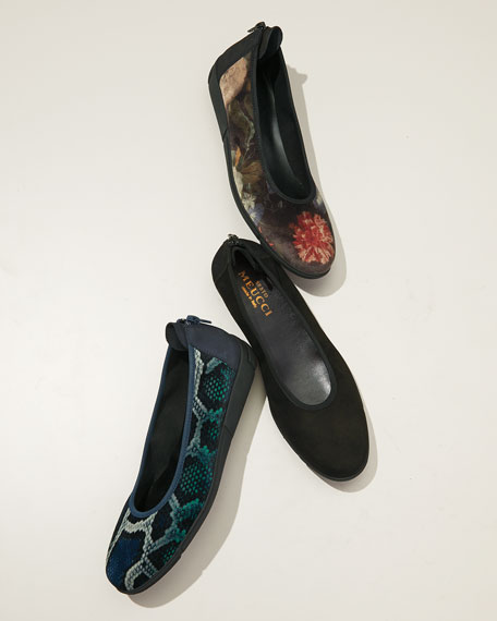 Sesto Meucci Diona Comfort Wedge Snake-Print Velvet Ballet Flats