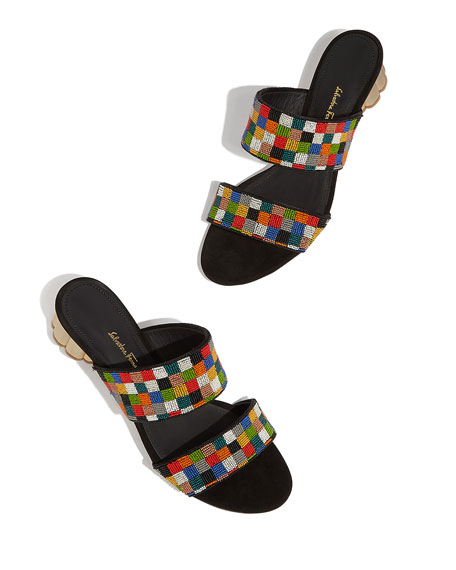 Salvatore Ferragamo Belluno Embellished Slide Sandals