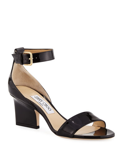 Edina Patent Leather Ankle-Wrap Sandals
