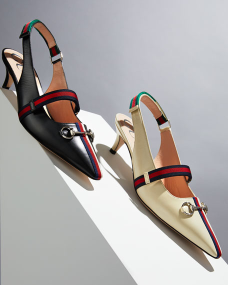 Gucci Horsebit Leather Slingback Pumps