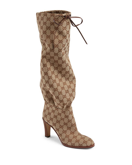 Gucci Lisa GG Canvas Knee Boots