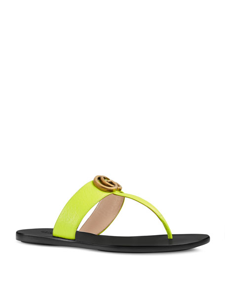 de24627e1efb Gucci Flat Neon Leather Thong Sandals