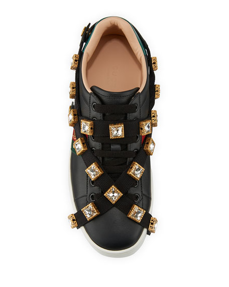 Gucci Leather Platform Sneakers with Detachable Jeweled Straps