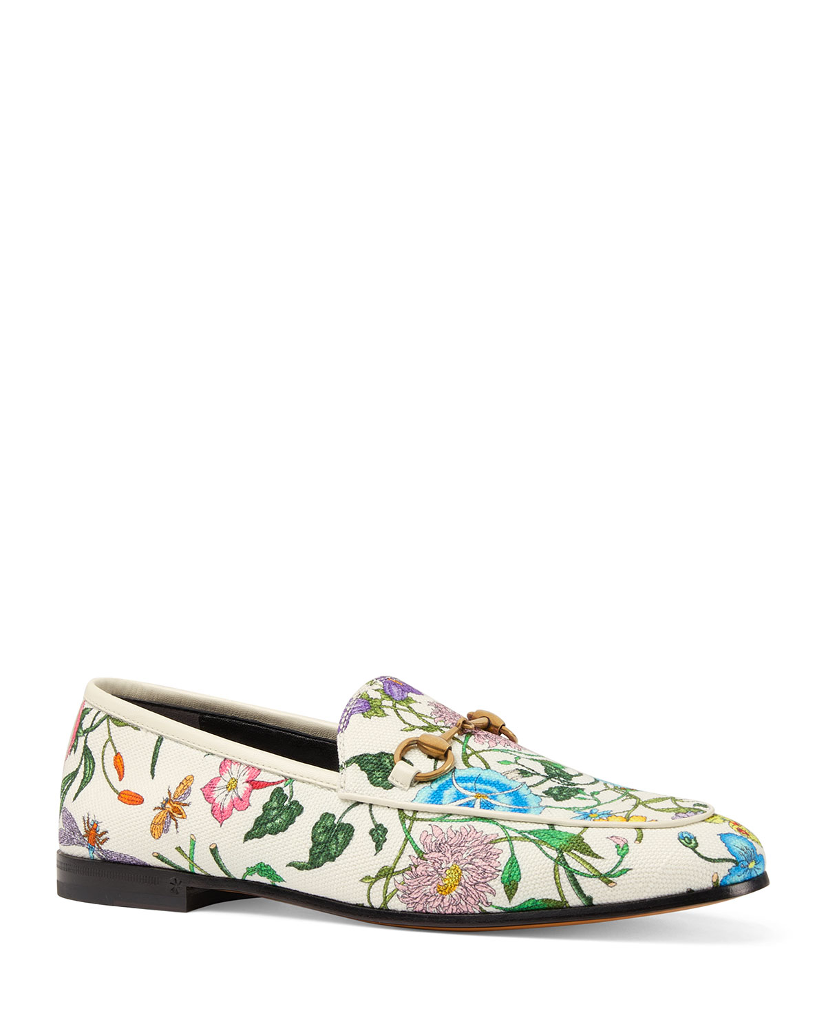 Gucci Floral Canvas Flat Loafers  bbf790766