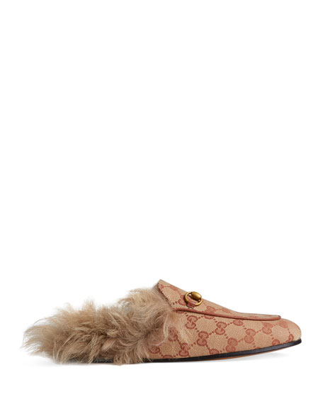 Gucci Princetown Fur-Lined GG Mule Loafers