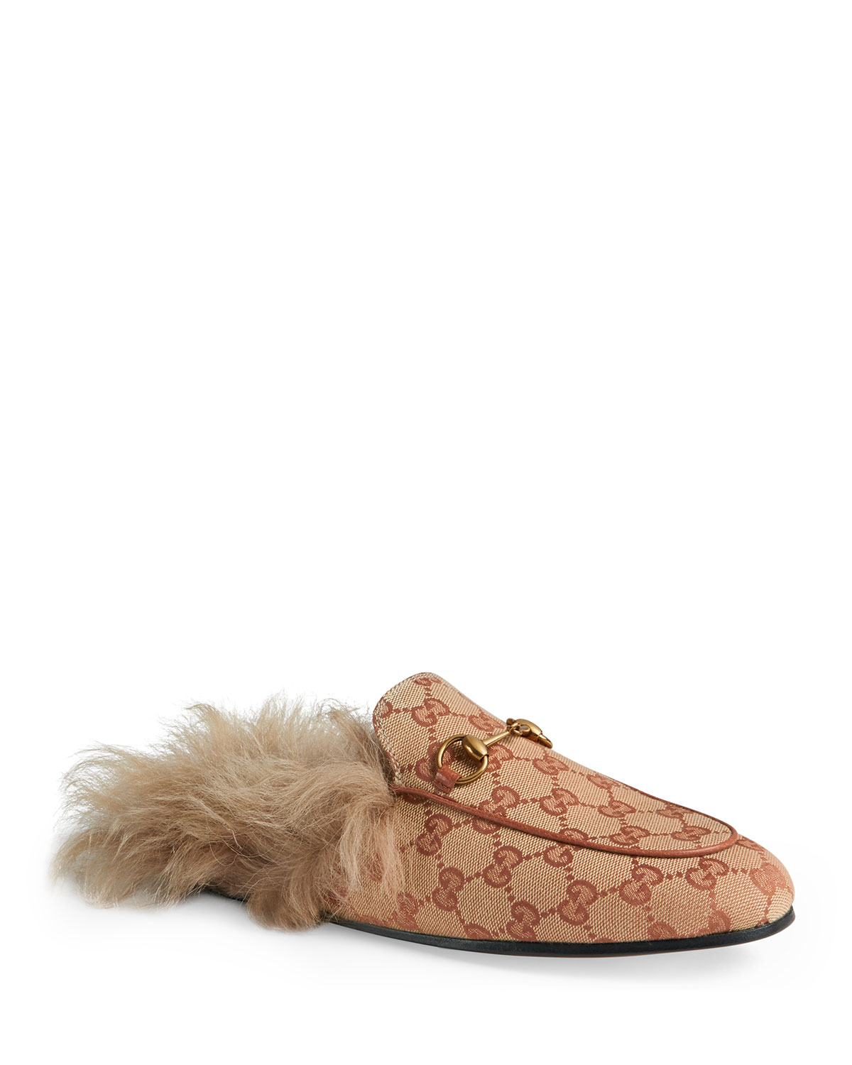 2e4836727 Gucci Princetown Fur-Lined GG Mule Loafers | Neiman Marcus