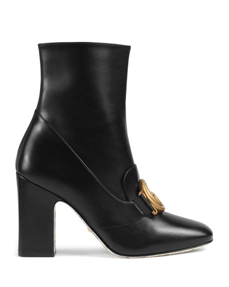 Gucci Smooth Leather GG Booties