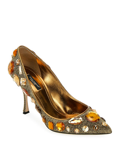 Jeweled Mesh Pointed Pumps