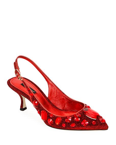 Dolce & Gabbana Mesh Embellished Slingback Pumps