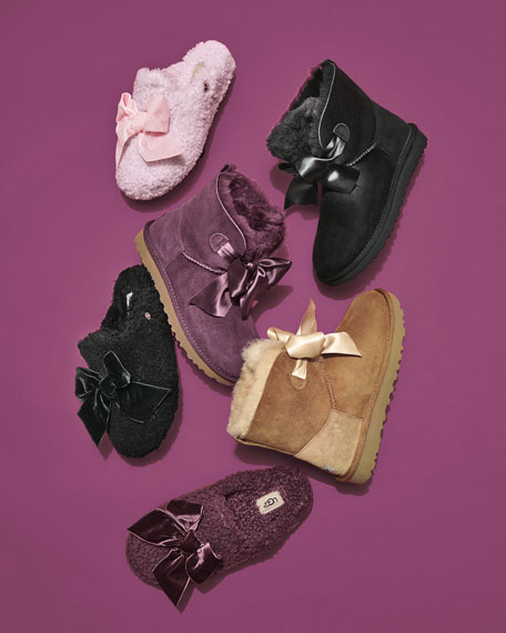 UGG Addison Velvet-Bow Curly Sheepskin Slippers