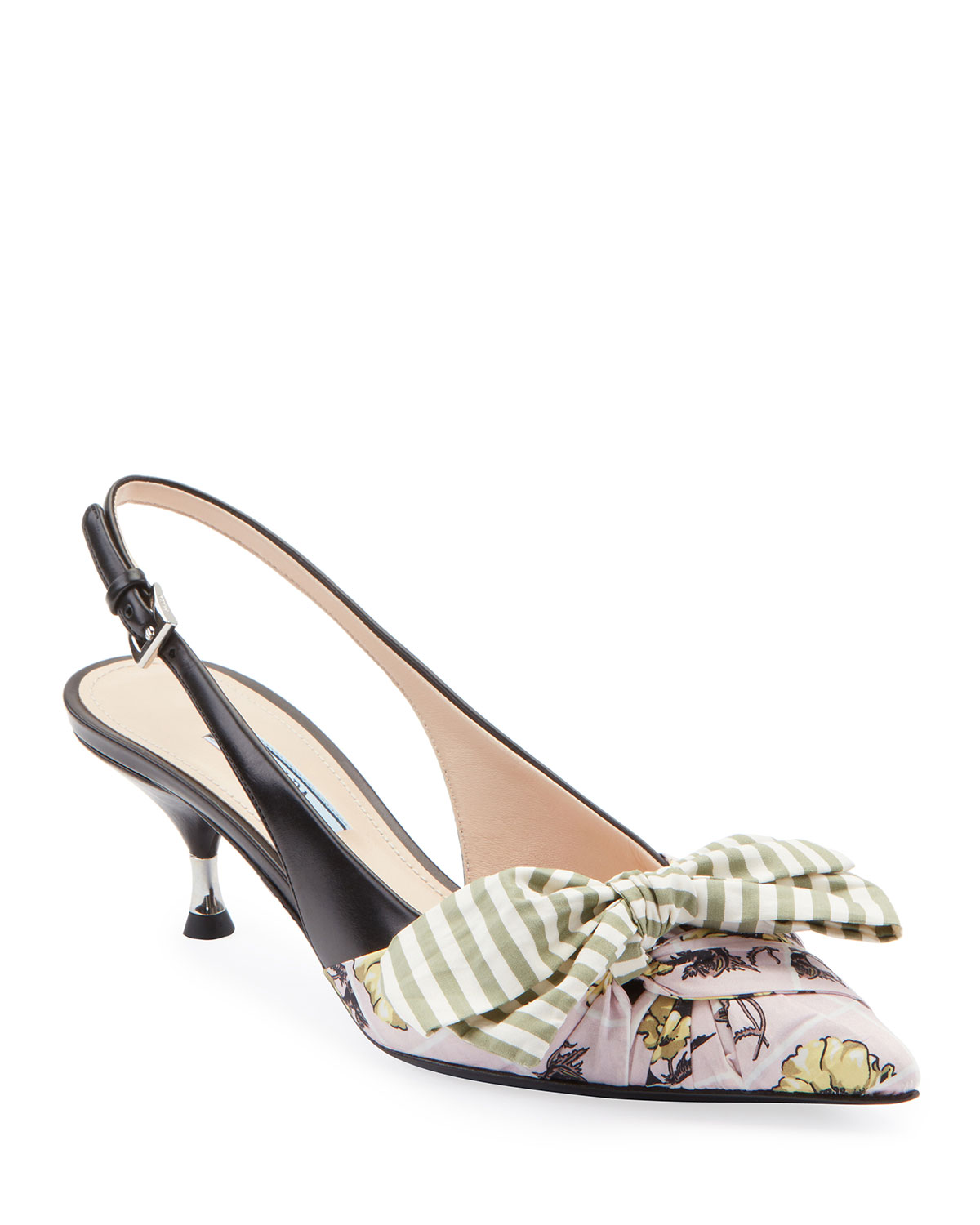 4d1f6baca3dbd Prada Fabric & Leather Kitten-Heel Slingback Pumps with Bow | Neiman ...