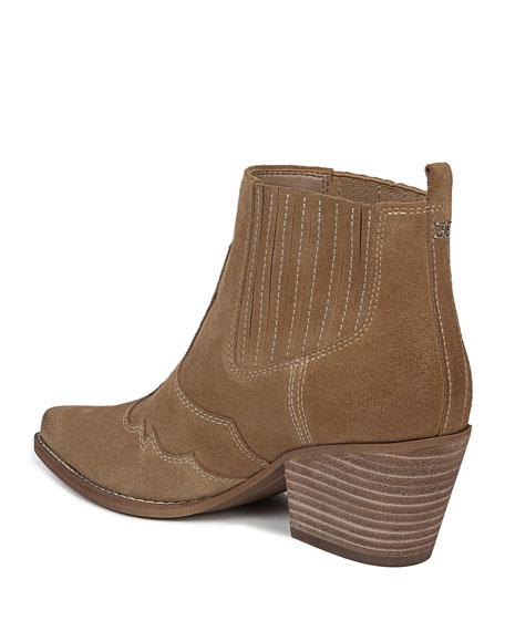 Sam Edelman Winona Western Stitched Suede Booties