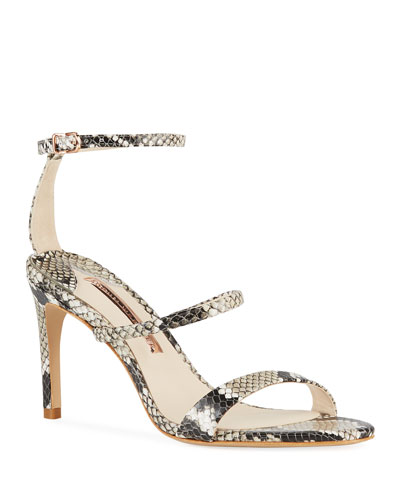 Rosalind Snake-Embossed Strappy Sandals