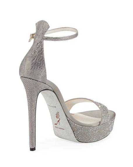 Rene Caovilla Crystal-Embellished Snakeskin Platform Sandals