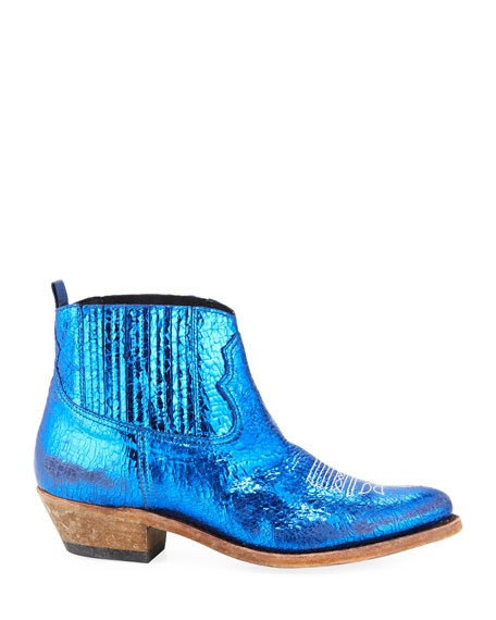 Golden Goose Crosby Crackled Metallic Leather Western Boots