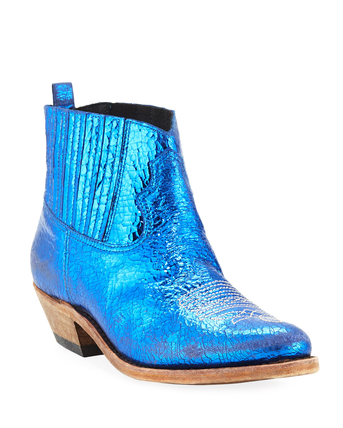 102a6a58598 Crosby Crackled Metallic Leather Western Boots