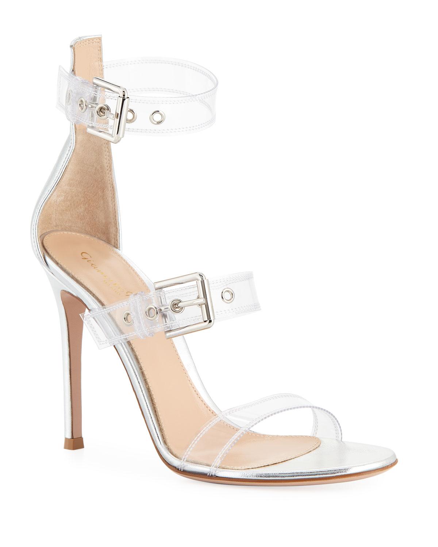 0764fbbf816 Gianvito Rossi Metallic Plexi High Sandals