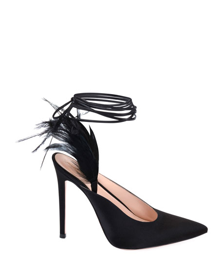 Gianvito Rossi Suede Pumps with Feather Detail