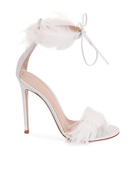 Gianvito Rossi Leather High Sandals with Feather Detail