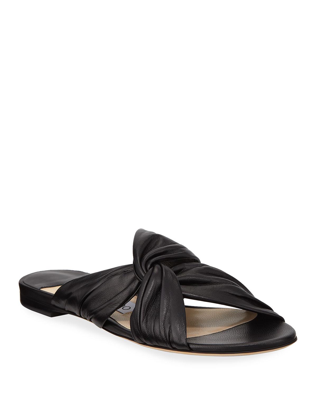 26324b5fe34 Jimmy Choo Lela Flat Napa Leather Slide Sandals | Neiman Marcus