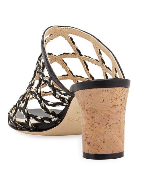 Jimmy Choo Dean Braided Rope & Leather Cutout Slide Sandals