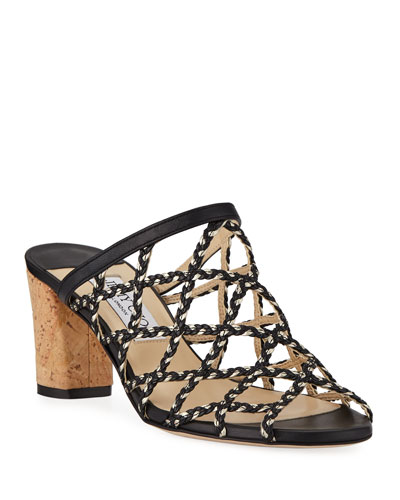 Dean Braided Rope & Leather Cutout Slide Sandals