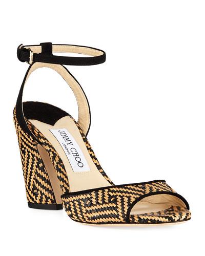 Miranda Two-Tone Raffia Sandals