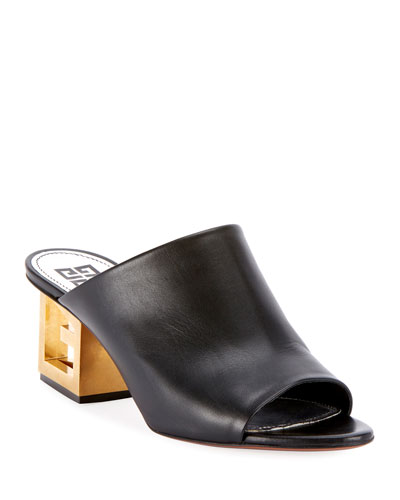 Leather Sandals with Logo Heel