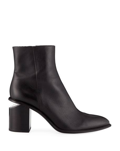 Image 2 of 3: Alexander Wang Anna Block-Heel Leather Booties - Rhodium-Tone Hardware