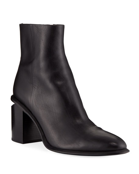 Image 1 of 3: Alexander Wang Anna Block-Heel Leather Booties - Rhodium-Tone Hardware